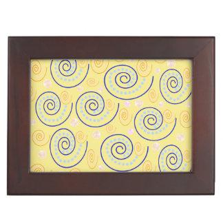 Abstract Swirls on Yellow Keepsake Boxes