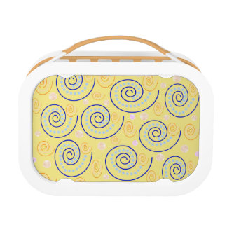 Abstract Swirls on Yellow Lunchboxes