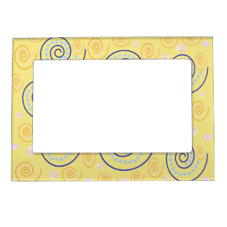 Abstract Swirls on Yellow Magnetic Frame