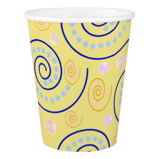 Abstract Swirls on Yellow Paper Cup