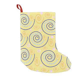 Abstract Swirls on Yellow Small Christmas Stocking