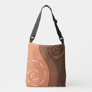 Abstract Swirls Terracotta Brown Modern Design Crossbody Bag