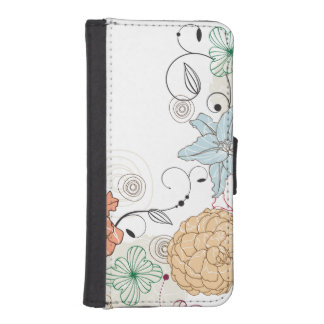 Abstract Swirly Floral iPhone SE/5/5s Wallet Case