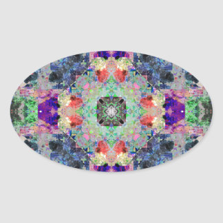 Abstract Symmetry of Colors Oval Sticker