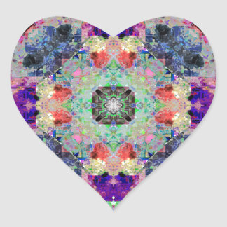 Abstract Symmetry of Colors Heart Stickers