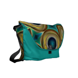 abstract Teal blue and gold messenger bag