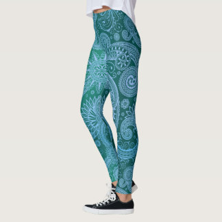 Abstract Teal Blue Pattern Leggings