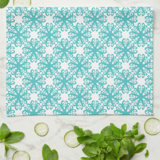 Abstract Teal Flower Kitchen / Tea Towel