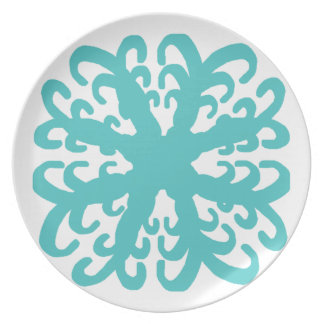 Abstract Teal Flower Plate