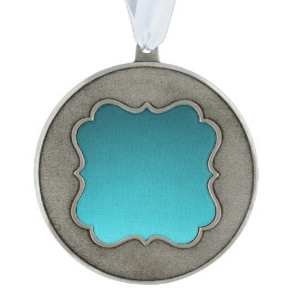 Abstract Teal Gradient Pattern Scalloped Pewter Ornament