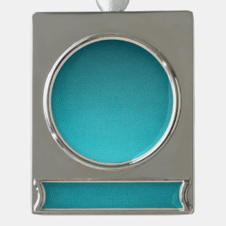 Abstract Teal Gradient Pattern Silver Plated Banner Ornament