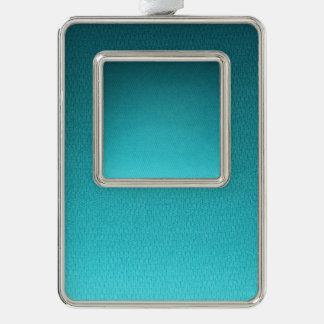 Abstract Teal Gradient Pattern Silver Plated Framed Ornament