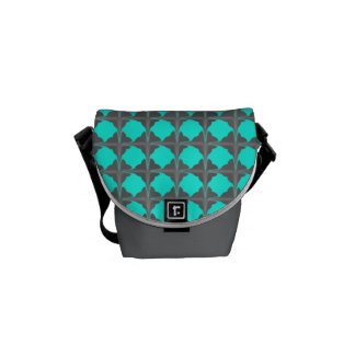 Abstract Teal Gray Quatrefoil Pattern Courier Bags