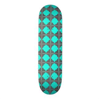 Abstract Teal Gray Quatrefoil Pattern Skateboard