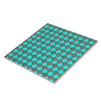 Abstract Teal Gray Quatrefoil Pattern Ceramic Tile