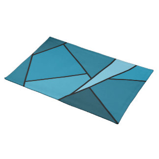 Abstract Teal Polygons Placemats