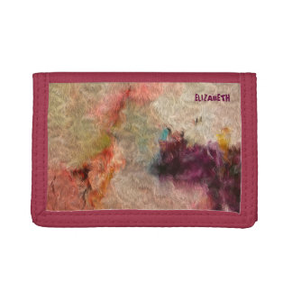 Abstract Tender Pastel Colors Cool Wool Imitation Tri-fold Wallet