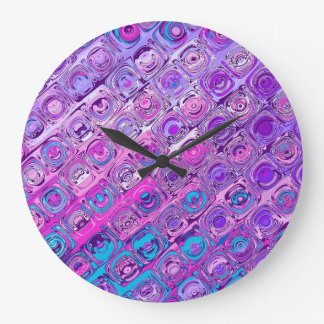 Abstract Textured Colorfull Purple Pattern Clock
