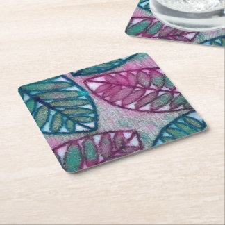 Abstract Textured Green Leaf Pattern Coaster