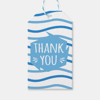 Abstract Thank You Blue and White Stripes Gift Tags