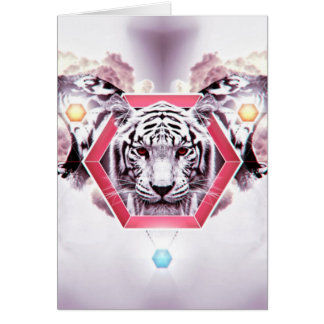 Abstract Tiger in geometric hexagon Greeting Card