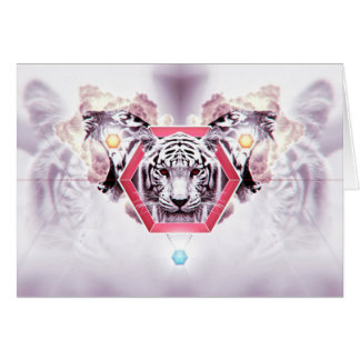 Abstract Tiger in geometric hexagon Note Card