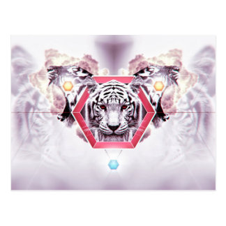 Abstract Tiger in geometric hexagon Postcard