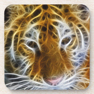 Abstract tiger portrait fractal art coaster