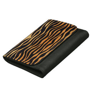 Abstract Tiger Print Leather Wallet