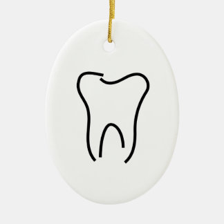Abstract tooth graphic ceramic oval decoration