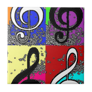 Abstract Treble Clef Small Square Tile