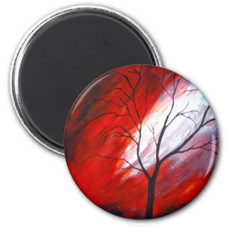 Abstract Tree and Red Sky Refrigerator Magnets