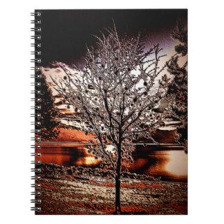 Abstract tree at the lake spiral notebook