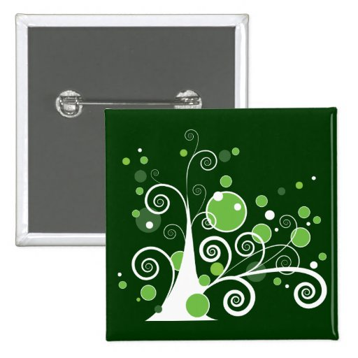 Abstract Tree Pinback Buttons