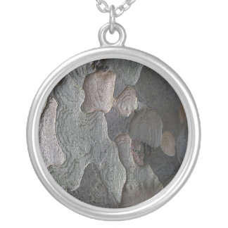 Abstract tree bark macro silver plated necklace