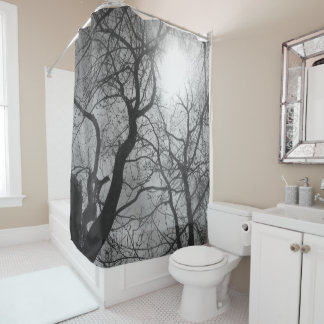 Abstract  tree   black  white sun Shower Curtain