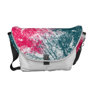 Abstract tree branches in green and hot pink courier bag