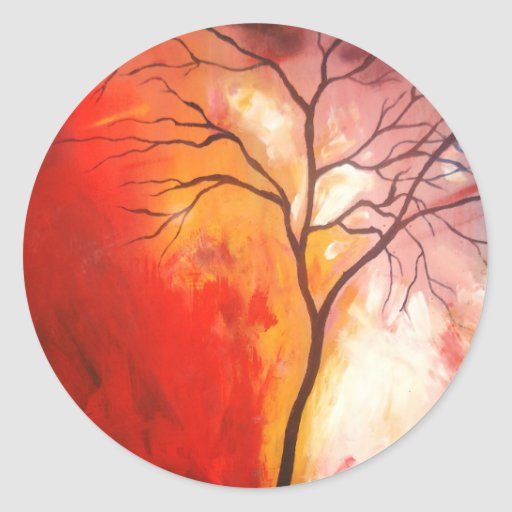 easy tree paintings on canvas MEMEs - Circle Wall Stickers