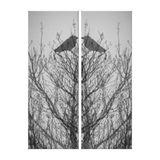Abstract tree crow bird print