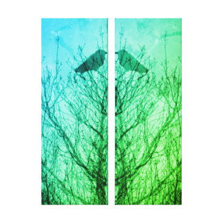 Abstract tree crow bird print blue green