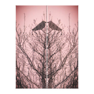 Abstract tree crow bird print pink