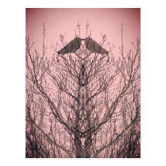Abstract tree crow bird print pink