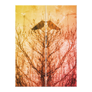 Abstract tree crow bird print pink love birds