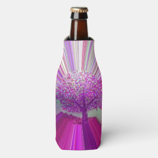 Abstract Tree Hot Pink Striped Bottle Cooler