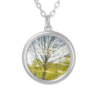 Abstract tree in autumn silver plated necklace