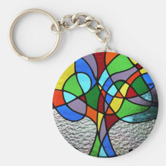 Abstract Tree of Life Keyring Basic Round Button Key Ring