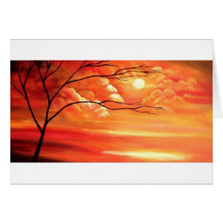 Abstract Tree & Red Sunset Greeting Card