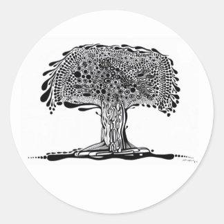 Abstract tree round sticker
