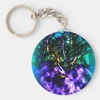 Abstract tree with Light Blue Border Keychain