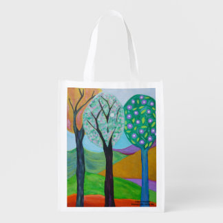 Abstract Trees Grocery Bag